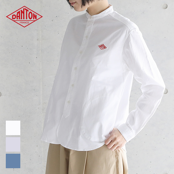 【2019春夏】 ダントン DANTON 長袖バンドカラー ポケット付きシャツ #JD-3606 YOX/COC 綿 レディース 無地 スタンドカラー 2019SS