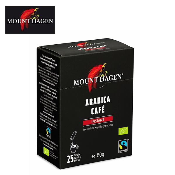 深く豊かな香りをもつ高地有機栽培の最高品質アラビカ種100%のブレンド 卓越 マウントハーゲン コーヒー インスタント オーガニック 有機JAS フェアトレード coffee 開店祝い 2g×25本 スティック インスタントコーヒー MOUNT 珈琲 HAGEN 50g