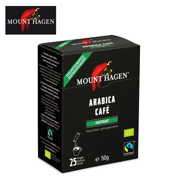 カフェイン残留率0.3%未満 コーヒー本来の深く豊かな味と香りをそのまま残したカフェインレスコーヒー マウントハーゲン オーガニック 有機JAS デカフェ ディカフェ 情熱セール インスタントコーヒー 春の新作シューズ満載 フェアトレード 50g MOUNT HAGEN 2g×25本 カフェインレス