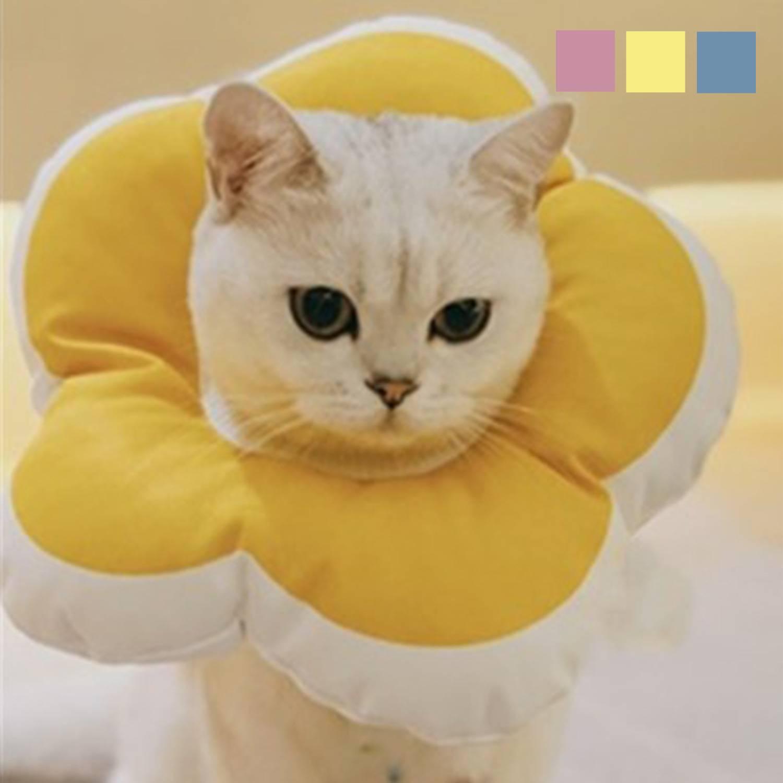 《 ペット用 フラワー型エリザベスカラー》 ネコ エリザベス カラー 犬 猫 ペット 花形 大決算セール かわいい 開店記念セール 柔らかポリエステル ふわふわ 首 とっても可愛いペット用エリザべスカラー 傷なめ防止 衣装 フラワー プロテクター 映え