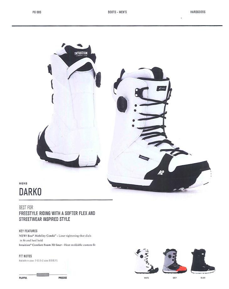 【在庫限最終特価】 K2 SNOWBOARDING BOOTS [ DARKO @49680] ケイツー ブーツ 安心の正規輸入品