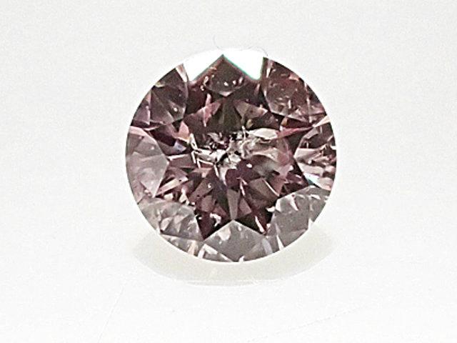 ほぼ 3mm! キレイな色合い! 0.096ct LIGHT BROWNISH PURPLISH PINK I2 ピンクダイヤモンド ルース