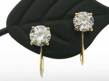 0.513ct&0.506ct H,SI2,GOOD K18製 4本爪 ダイヤモンドイヤリング