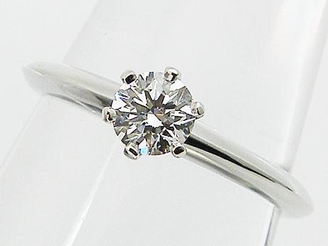 【中古】【TIFFANY&Co.】0.31ct E,VS2,PT950製 ティファニー ダイヤモンドリング