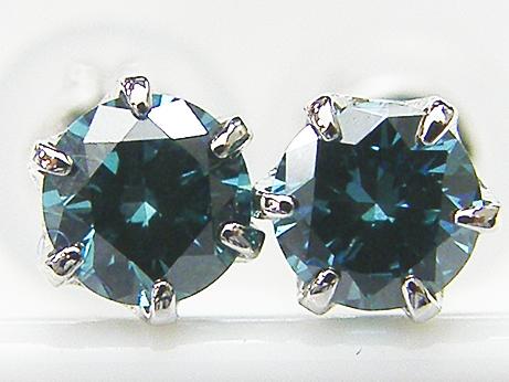 Total 0.236ct PT製 トリートブルー,H&C(ハート&キューピット) ダイヤモンド6本爪ピアス