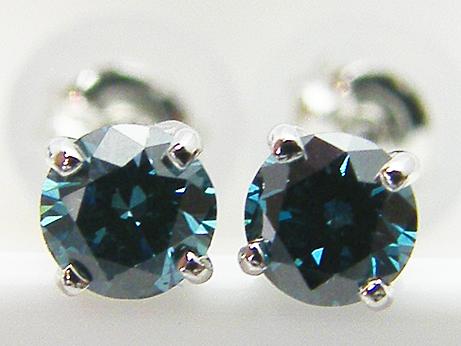 Total 0.230ct PT製 トリートブルー,H&C(ハート&キューピット) ダイヤモンド4本爪ピアス