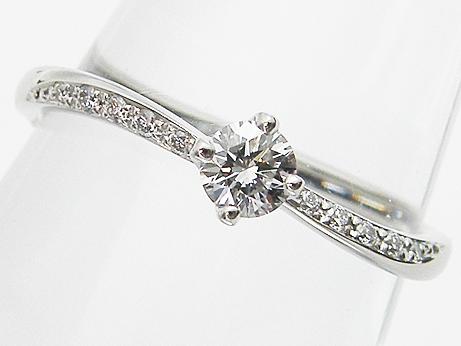 【中古】【ポンテヴェキオ】0.206ct F,VS2,VERY GOOD & メレダイヤ 0.05ct PT製 ダイヤモンドリング