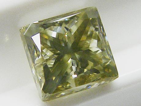1.523ct FANCY.BRWONISH.GREENISH.YELLOW,SI2,スクエア ダイヤモンドルース