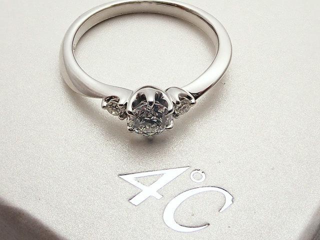 【4℃】0.307ct E,VVS2,トリプルEXCELLENT,H&C(ハート&キューピット) PT950製 ダイヤモンドリング【中古】