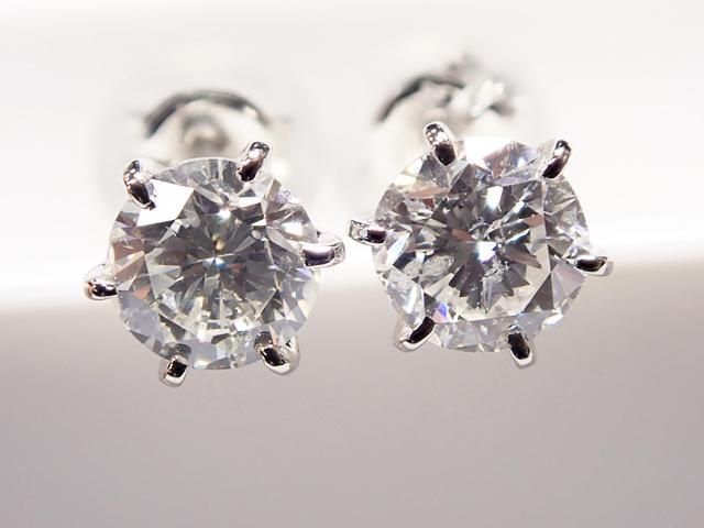 0.364ct & 0.326ct H,SI2,GOOD PT製 6本爪 ダイヤモンドピアス
