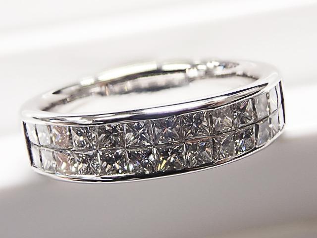 海外ジュエリー プリンセスカットダイヤ(石目刻印無し) K18WG製 ダイヤモンドリング【中古】