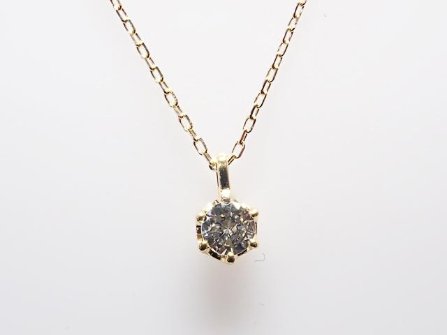 0.100ct J,SI2,GOOD K18製 6本爪 ダイヤモンドペンダント