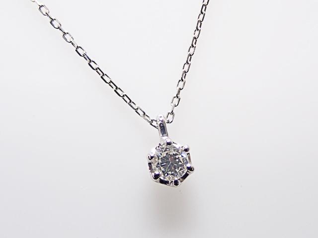0.106ct F,SI1,FAIR PT製 6本爪 ダイヤモンド ペンダント