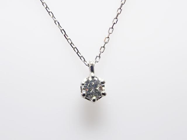 0.098ct F,SI2,GOOD PT製 6本爪 ダイヤモンド ペンダント
