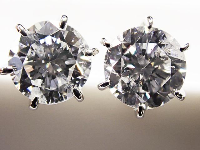 0.342ct & 0.378ct E-F,SI2,GOOD PT製 6本爪 ダイヤモンドピアス
