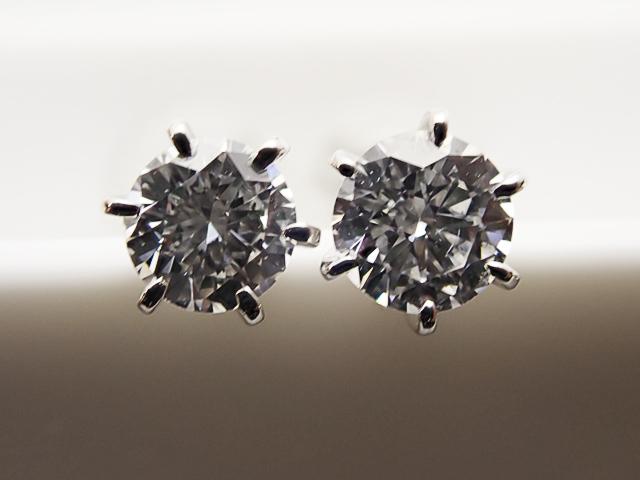 0.172ct & 0.154ct F,VS2-SI1,GOOD PT製 6本爪 ダイヤモンドピアス