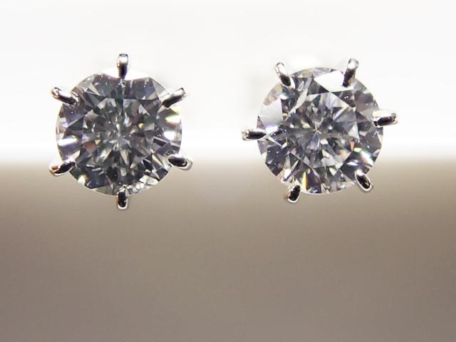0.197ct & 0.196ct F-G,SI2,GOOD PT製 6本爪 ダイヤモンドピアス