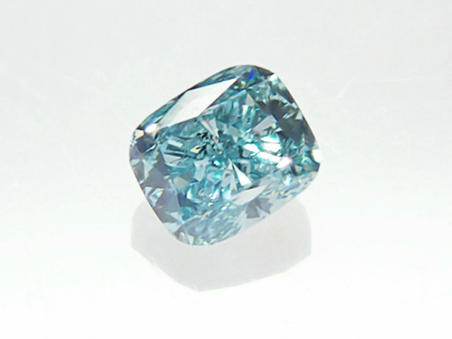 0.165ct FANCY.VIVID.GREEN.BLUE,SI2,クッション ビビッドグリーンブルーダイヤモンドルース