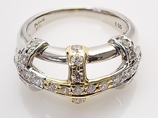 ダイヤモンド Total 0.50ct PT/K18 クロスモチーフ ダイヤモンドリング