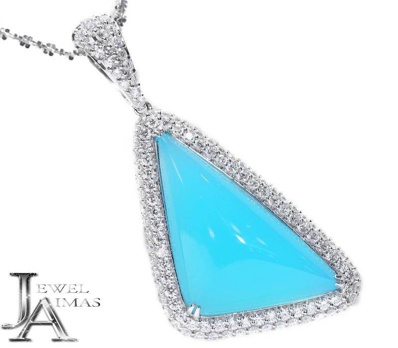 シーブルーカルセドニー  H 28.8mm×W 17.2mm ダイヤモンド 1.73ct 三角形 トライアングル トリリアント ネックレス K18WG ホワイトゴールド <スライド式アジャスター付き>【ジュエリー】【中古】MEB