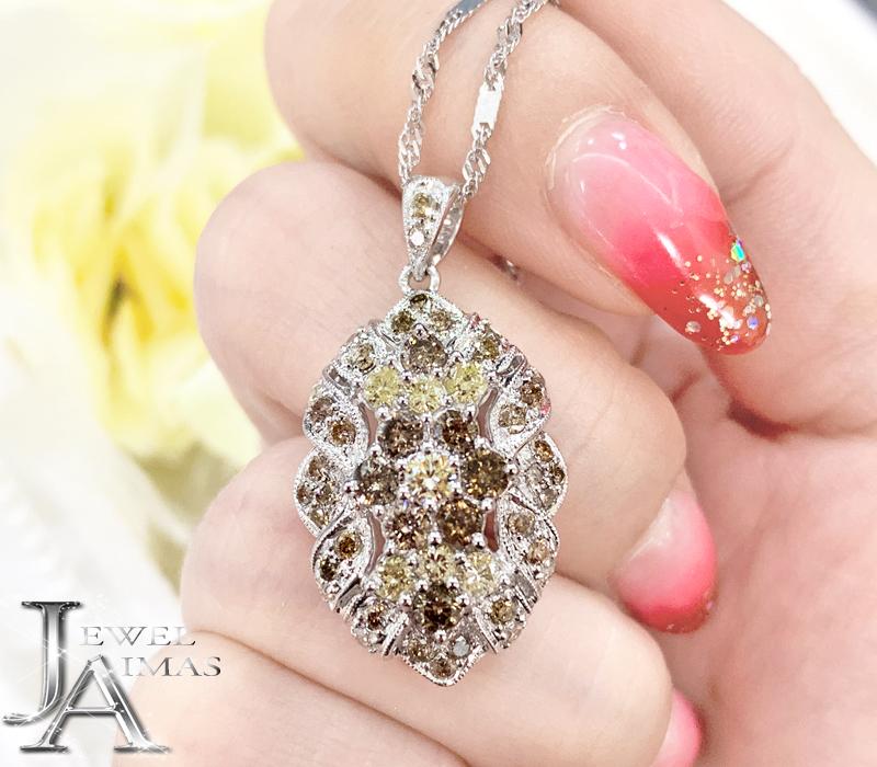ブラウンダイヤモンド/イエローダイヤモンド 2ct ネックレス K18WG ホワイトゴールド【中古】【ジュエリー】MEJ