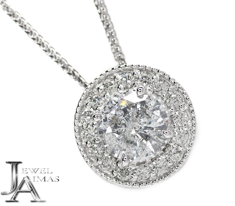 ダイヤモンド 1.045ct(G I-2) メレダイヤモンド 0.28ct ネックレス K18WG ホワイトゴールド <スライドアジャスター付>【新品】【ジュエリー】RZY.MI