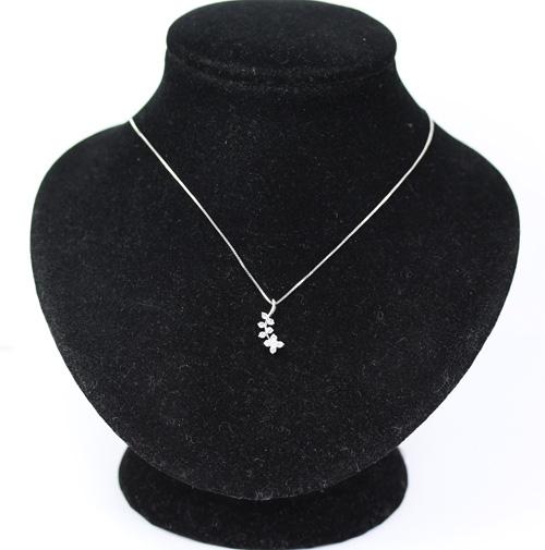 【中古】 ダイヤモンド K18WG フラワー ネックレス K14// 【ジュエリー】 花 0.25ct