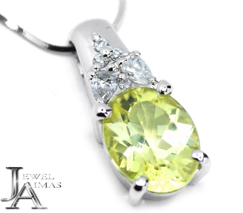 イエロートルマリン 1.93ct ダイヤモンド 0.14ct ネックレス K18WG ホワイトゴールド【中古】【ジュエリー】MJJZ