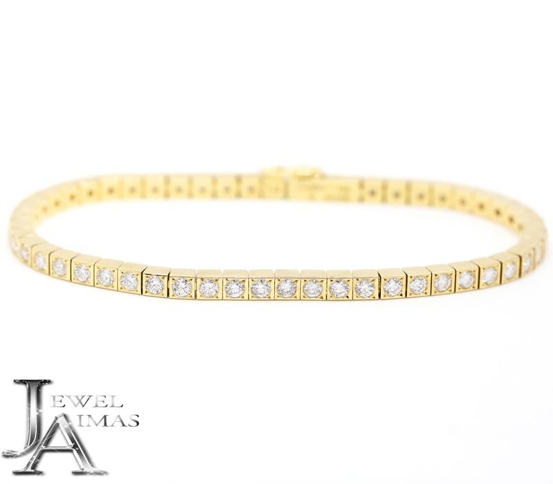 【Cartier】カルティエ ラニエール ブレスレット アフターダイヤモンド 55P テニスブレスレット K18YG イエローゴールド【中古】MEJ