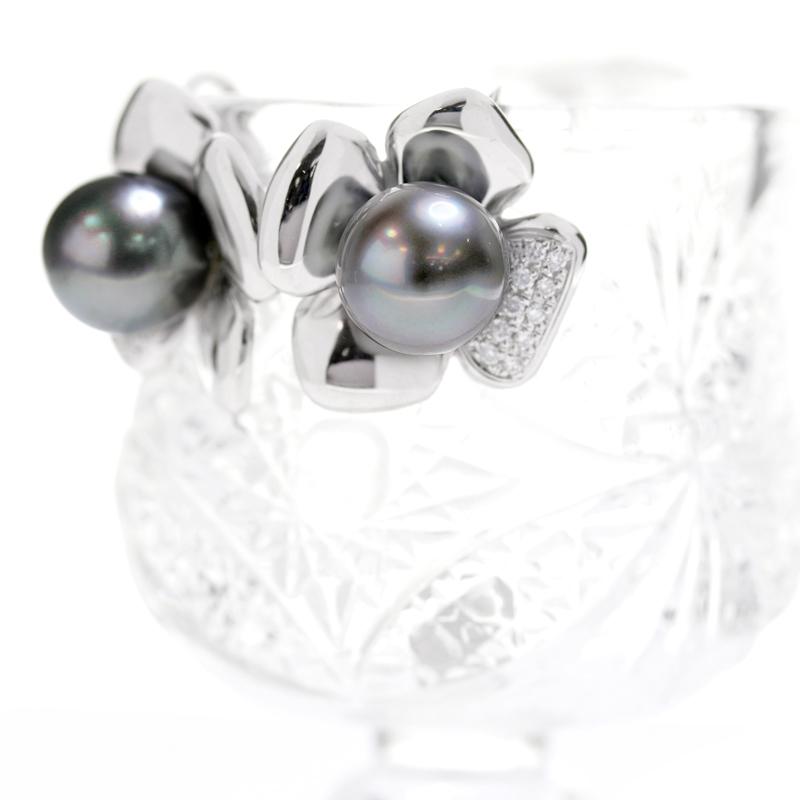 黒蝶パール 黒蝶真珠 南洋真珠 南洋パール 11mm ダイヤモンド 0 11ct 0 11ct 計0 22ctフラワー お花 イヤリング PT900 プラチナ ジュエリー MEMiXOPkZuT