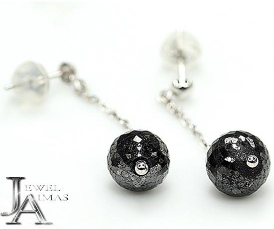 【ジュエリー】ブラックダイヤモンド 3.7ct 3.7ct (7.4ct) ピアス ローズカット ミラーボールカット K18WG【中古】
