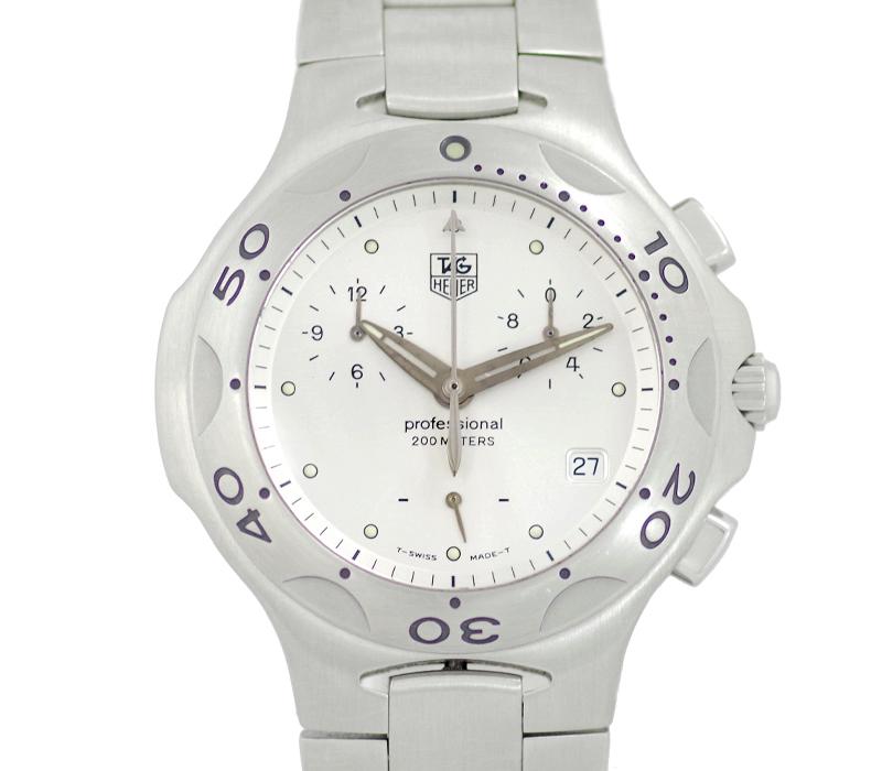 【TAG Heuer】タグホイヤー キリウム CL1111 クロノグラフ デイト シルバー ホワイト 文字盤 SS ステンレス メンズ クォーツ【中古】【腕時計】