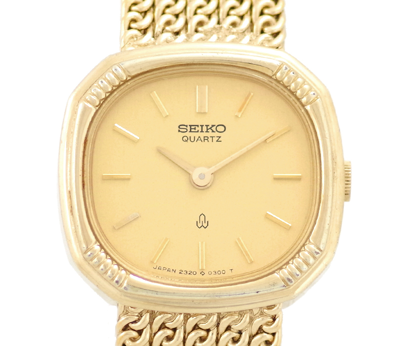 【SEIKO】セイコー エクセリーヌ 2320-5200 ゴールド 文字盤 SS ステンレススチール ASGP SGP YGP イエロー ゴールド レディース クォーツ【中古】【腕時計】