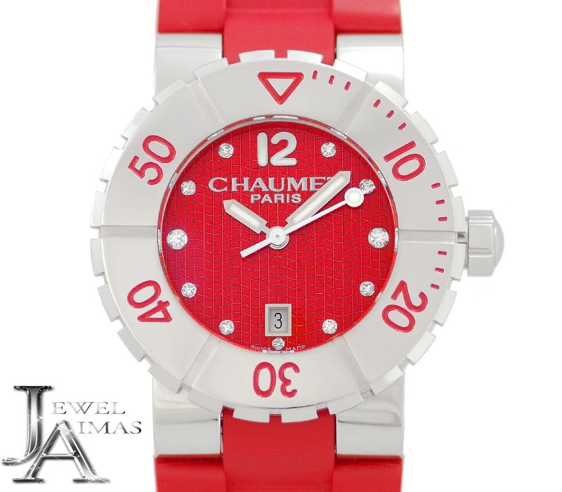 【スーパーSALE10%オフ!】【CHAUMET】ショーメ クラスワン W1722P-33R デイト 11P ダイヤモンド 赤 レッド 文字盤 ラバーベルト レディース クォーツ【中古】【腕時計】