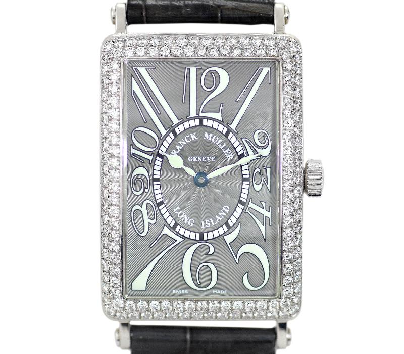 【FRANCK MULLER】フランクミュラー ロングアイランド 1000SCD グレー 灰色 ギョーシェ 文字盤 純正ダイヤモンド 純正クロコベルト K18WG ホワイトゴールド メンズ 自動巻き【中古】【腕時計】
