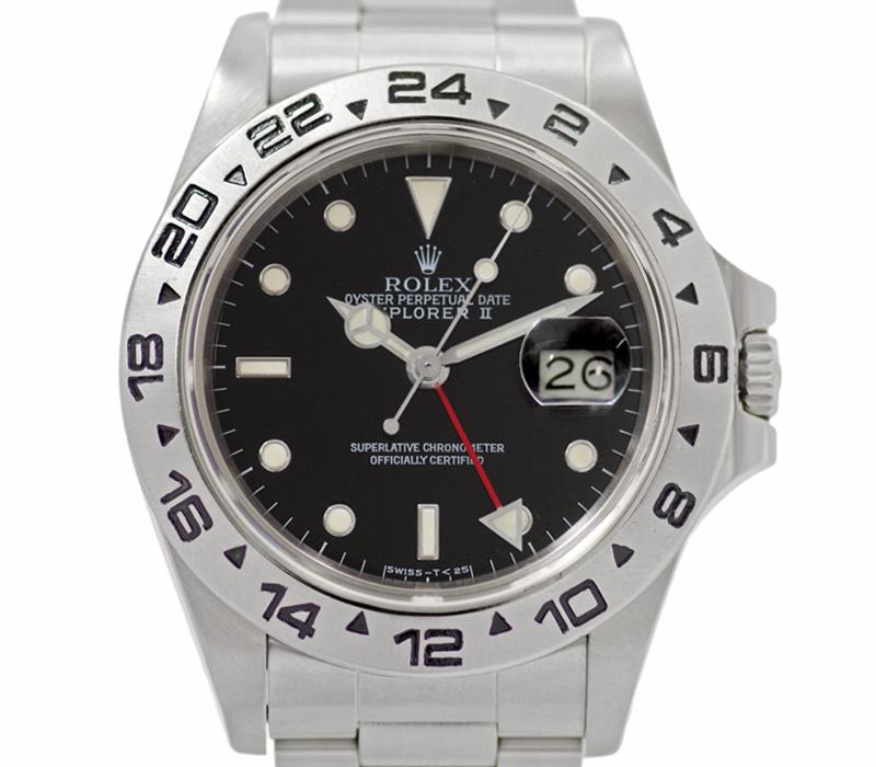 【ROLEX】ロレックス エクスプローラー2 EXPLORERII 16550 9番台 デイト GMT 黒 ブラック 文字盤 トリチウム夜光 SS ステンレススチール メンズ 自動巻き ヴィンテージ【中古】【腕時計】