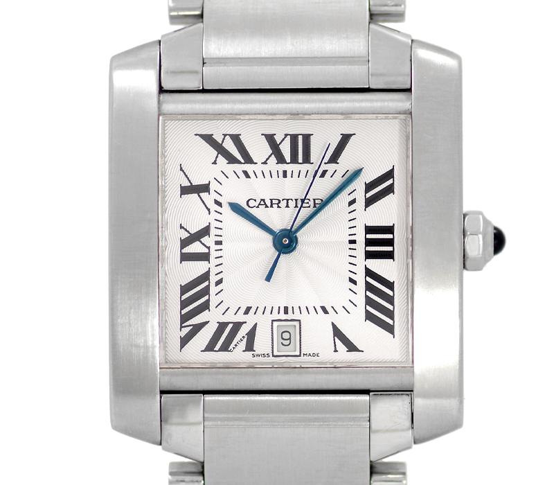 【Cartier】カルティエ タンクフランセーズ LM W51002Q3 デイト 白 ホワイト 文字盤 SS ステンレス メンズ 自動巻き【中古】【腕時計】