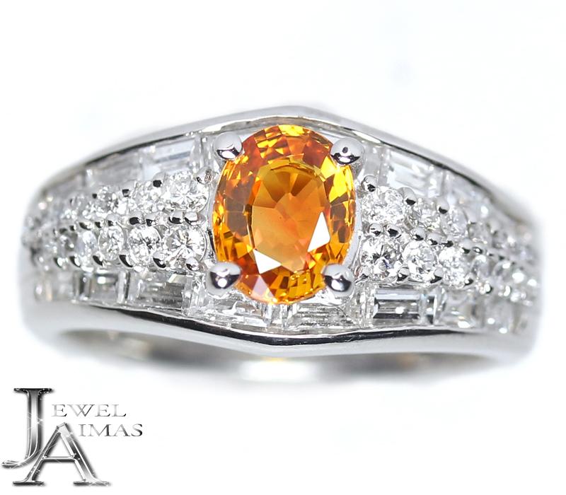 オレンジサファイア 0.98ct ダイヤモンド 1.22ct リング 11号 PT900 プラチナ【ジュエリー】【中古】MEZ