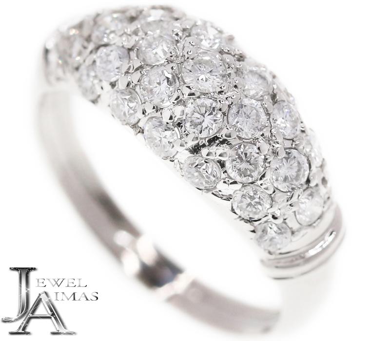 ダイヤモンド 0.94ct パヴェダイヤ リング 10.5号 K18WG ホワイトゴールド【中古】【ジュエリー】MEL