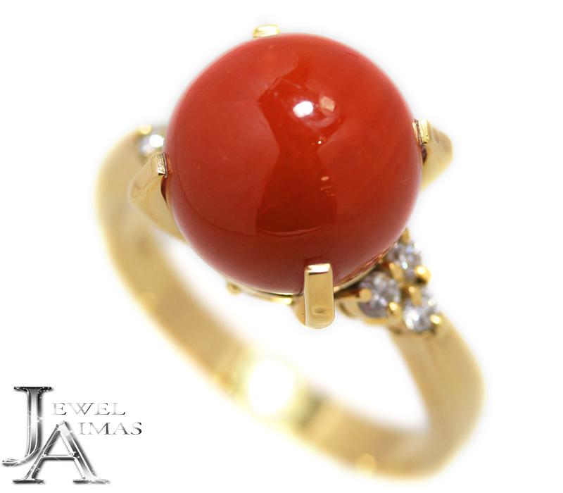 天然赤珊瑚 赤サンゴ 赤さんご 11.2mm ダイヤモンド 0.18ct リング 15.5号 K18YG イエロゴールド【中古】【ジュエリー】MEL