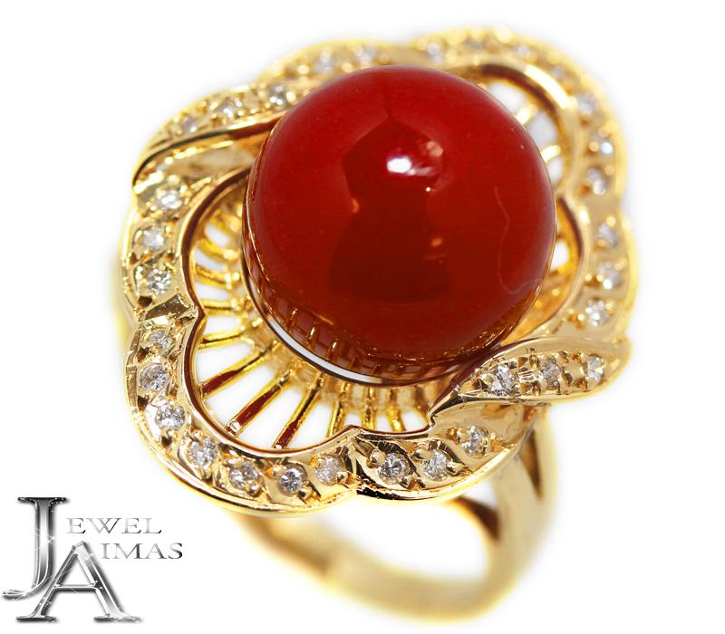 血赤珊瑚 血赤サンゴ 血赤さんご 11.1mm ダイヤモンド 0.15ct リング 11.5号 K18YG イエロゴールド【ジュエリー】MEL:ジュエル アイマス