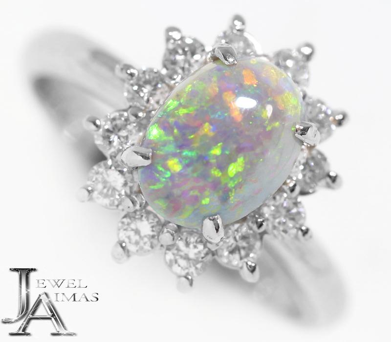 オパール 1.1ct ダイヤモンド 0.44ct リング 13号 PT900 プラチナ <遊色効果>【中古】【ジュエリー】MEL