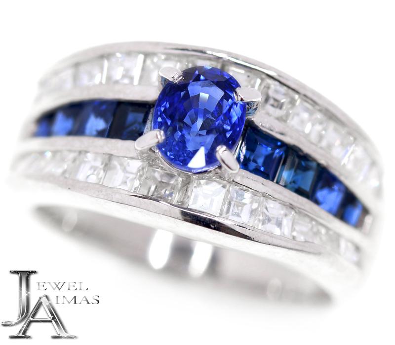 ブルーサファイア 0.91ct 0.84ct ダイヤモンド 1.15ct リング 12号 PT900 プラチナ【中古】【ジュエリー】MEB