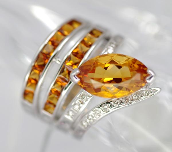 폰테베키오시트린 3.06 ct다이아몬드 0.13 ct링 K18WG