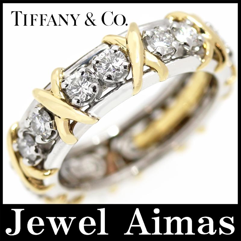 【スーパーSALE10%オフ】【Tiffany&Co.】ティファニー ジーンシュランバーゼー ジャン・シュランバージェ ダイヤモンド 16 ストーン リング 12.5号 PT950 K18YG(750) プラチナ イエローゴールド【中古】