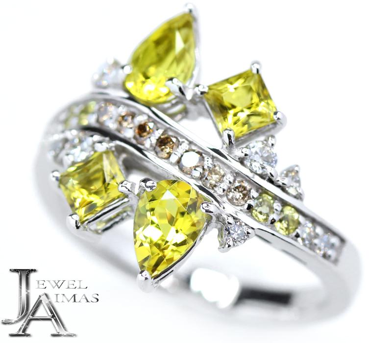 カナリートルマリン イエロートルマリン 1.39ct ダイヤモンド 0.26ct リング 12.5号 K18WG ホワイトゴールド【中古】【ジュエリー】MJJ
