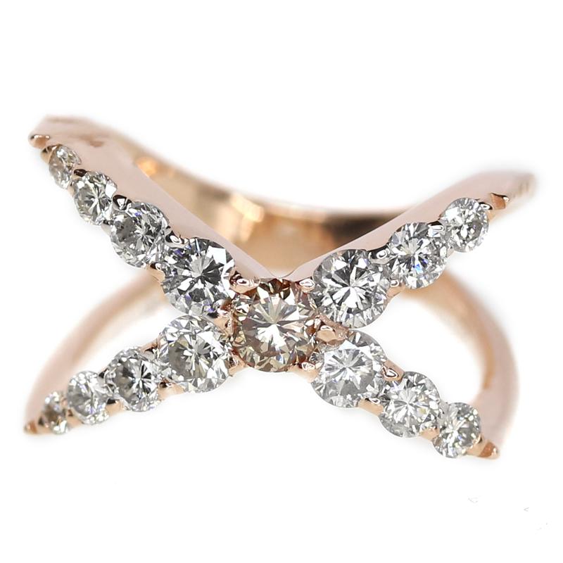【スーパーセール10%オフ!】ダイヤモンド 1.15ct クロス バツ X リング  11号 K18PG ピンクゴールド【新品】【ジュエリー】MEE