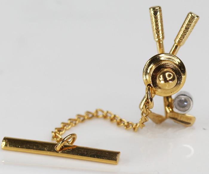 鑽石0.05ct高爾夫球推桿大頭針胸針領針翻領大頭針K18 PT900
