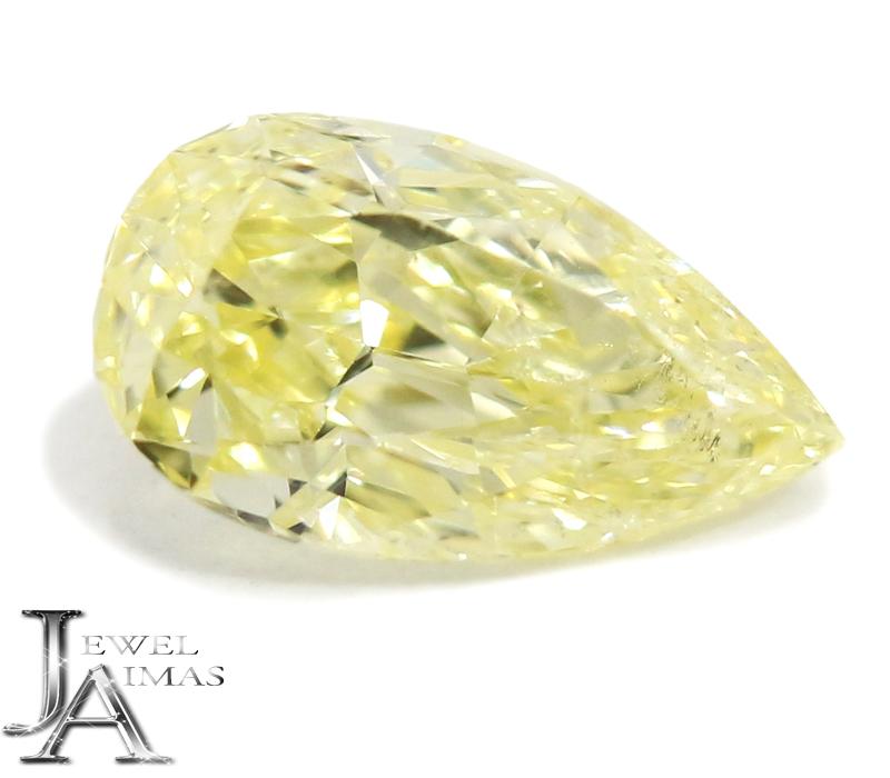 ファンシーイエローダイヤモンド 0.363ct FANCY YELLOW SI-2 ペアシェイプカット ティアドロップ <中央宝石研究所ソーティング付>【ルース】RZG.K