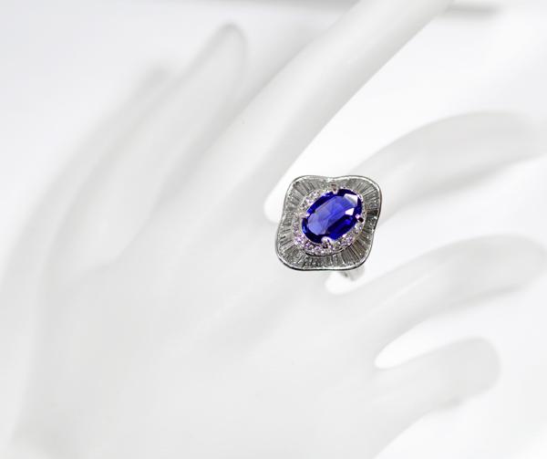 Non-heated Sapphire 3.263 ct diamond 1.61 ct ring PT900 No.11 < hair/no heating >